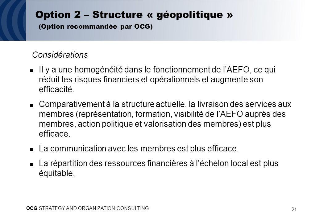 21 Option 2 – Structure « géopolitique » (Option recommandée par OCG) Considérations Il y a une homogénéité dans le fonctionnement de lAEFO, ce qui réduit les risques financiers et opérationnels et augmente son efficacité.