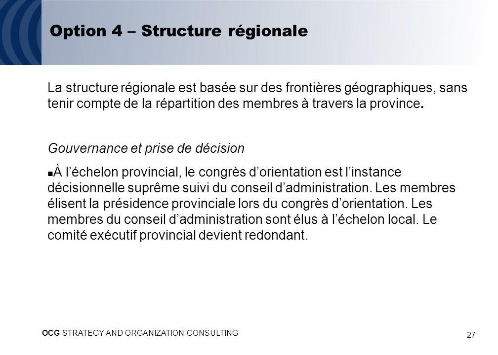 27 Option 4 – Structure régionale La structure régionale est basée sur des frontières géographiques, sans tenir compte de la répartition des membres à travers la province.