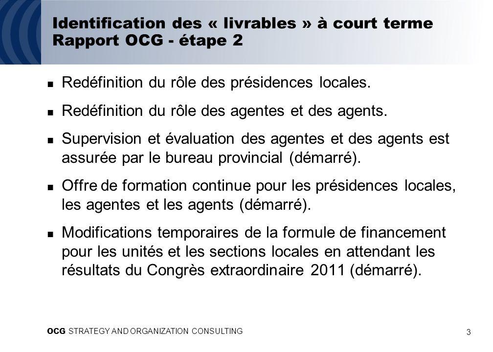 3 Identification des « livrables » à court terme Rapport OCG - étape 2 Redéfinition du rôle des présidences locales. Redéfinition du rôle des agentes