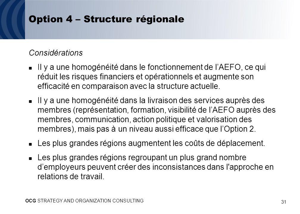 31 Option 4 – Structure régionale Considérations Il y a une homogénéité dans le fonctionnement de lAEFO, ce qui réduit les risques financiers et opérationnels et augmente son efficacité en comparaison avec la structure actuelle.