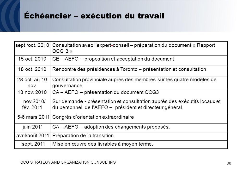 38 Échéancier – exécution du travail sept./oct. 2010Consultation avec lexpert-conseil – préparation du document « Rapport OCG 3 » 15 oct. 2010CE – AEF