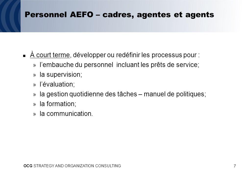 7 Personnel AEFO – cadres, agentes et agents À court terme, développer ou redéfinir les processus pour : » lembauche du personnel incluant les prêts de service; » la supervision; » lévaluation; » la gestion quotidienne des tâches – manuel de politiques; » la formation; » la communication.