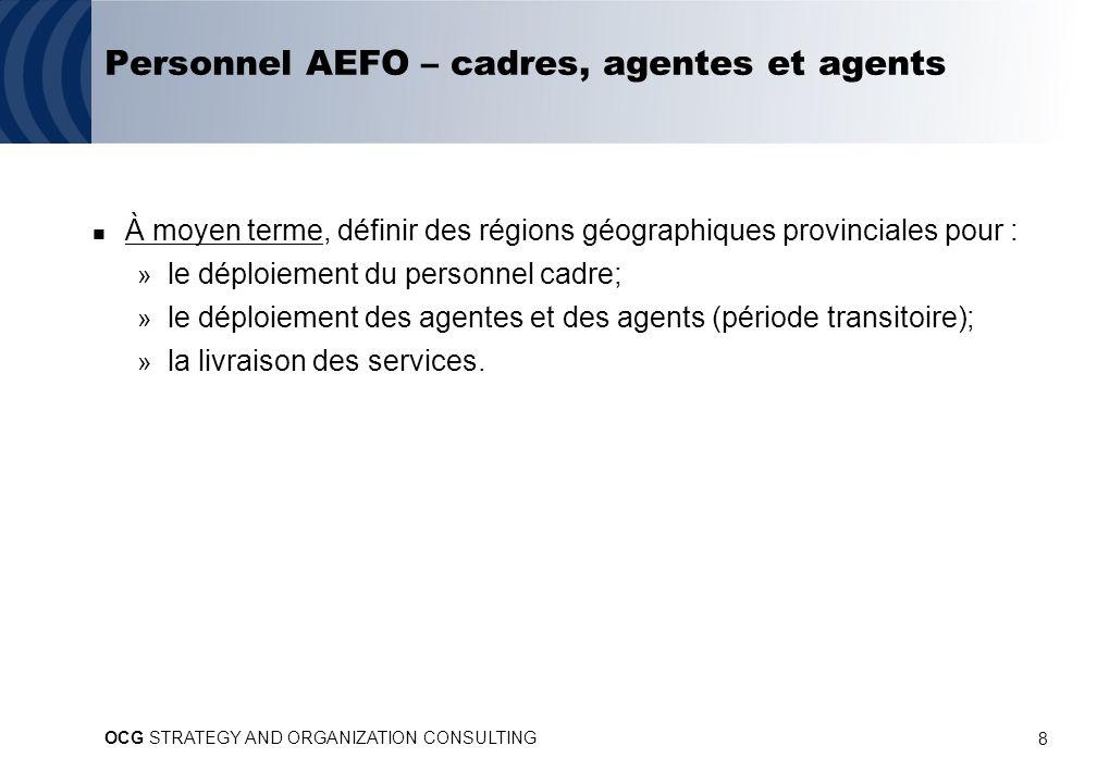 8 Personnel AEFO – cadres, agentes et agents À moyen terme, définir des régions géographiques provinciales pour : » le déploiement du personnel cadre; » le déploiement des agentes et des agents (période transitoire); » la livraison des services.