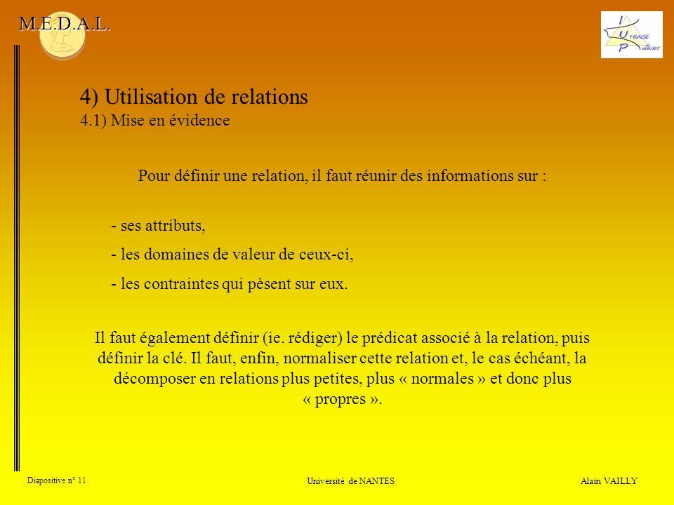 4) Utilisation de relations 4.1) Mise en évidence Alain VAILLY Diapositive n° 11 Université de NANTES M.E.D.A.L. Pour définir une relation, il faut ré