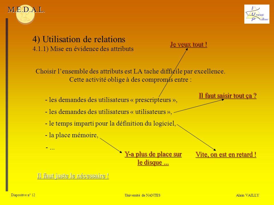 4) Utilisation de relations 4.1.1) Mise en évidence des attributs Alain VAILLY Diapositive n° 12 Université de NANTES M.E.D.A.L. Choisir lensemble des