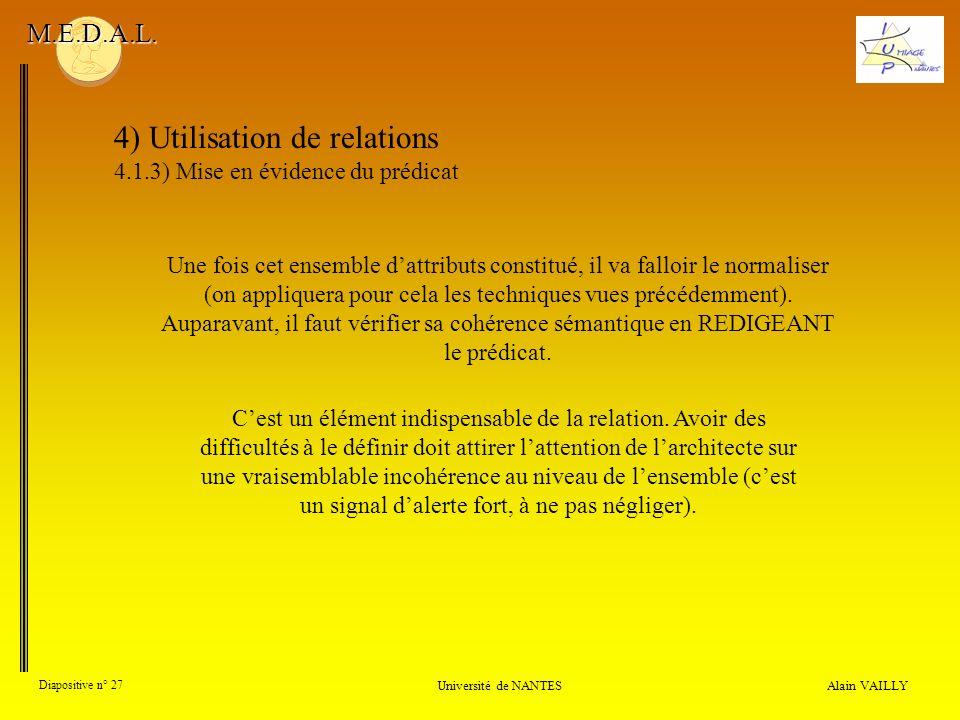 4) Utilisation de relations 4.1.3) Mise en évidence du prédicat Alain VAILLY Diapositive n° 27 Université de NANTES M.E.D.A.L. Une fois cet ensemble d