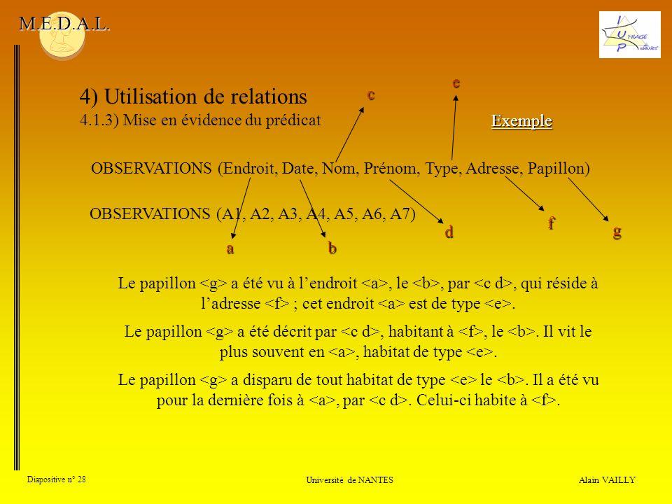 4) Utilisation de relations 4.1.3) Mise en évidence du prédicat Alain VAILLY Diapositive n° 28 Université de NANTES M.E.D.A.L. Le papillon a été vu à