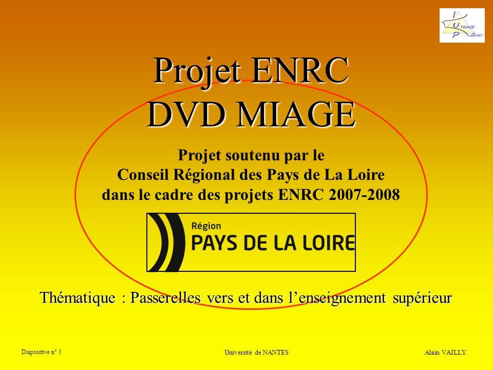 Alain VAILLY Diapositive n° 3 Université de NANTES Projet ENRC DVD MIAGE Projet soutenu par le Conseil Régional des Pays de La Loire dans le cadre des