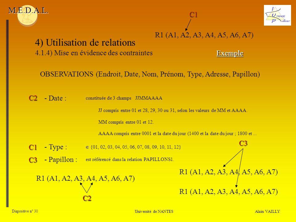 4) Utilisation de relations 4.1.4) Mise en évidence des contraintes Alain VAILLY Diapositive n° 30 Université de NANTES M.E.D.A.L. - Type : - Papillon