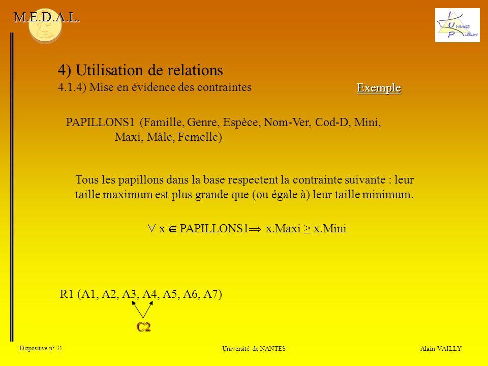 4) Utilisation de relations 4.1.4) Mise en évidence des contraintes Alain VAILLY Diapositive n° 31 Université de NANTES M.E.D.A.L. Exemple R1 (A1, A2,