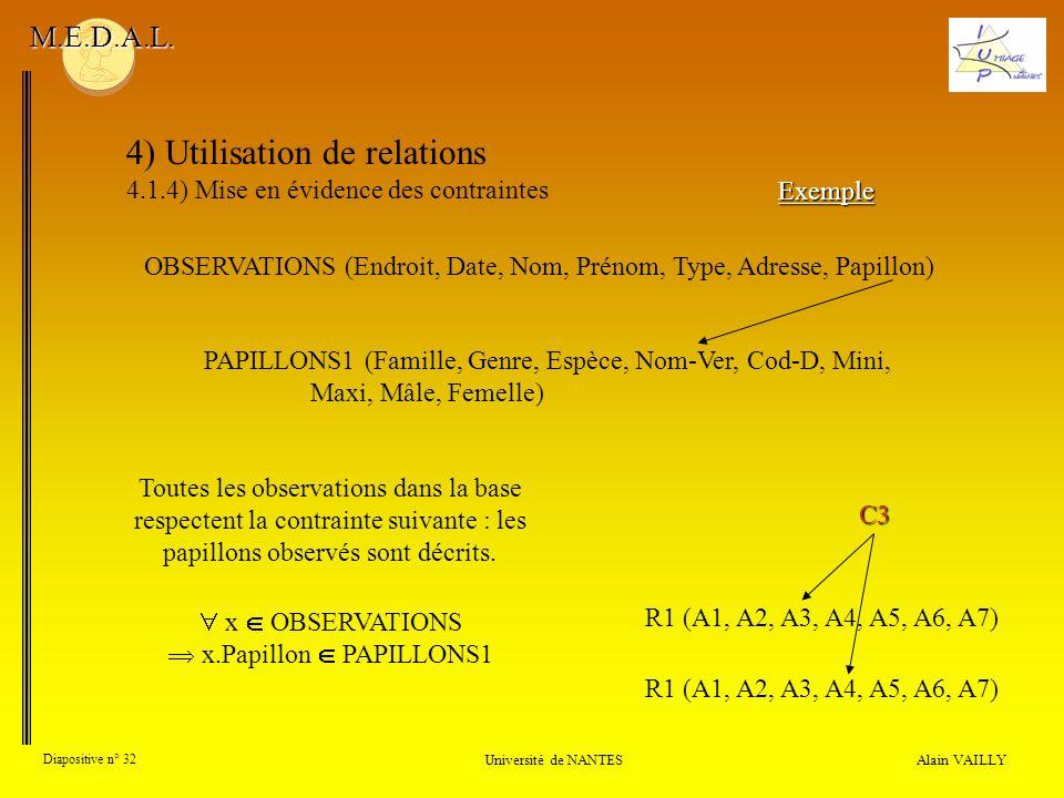 4) Utilisation de relations 4.1.4) Mise en évidence des contraintes Alain VAILLY Diapositive n° 32 Université de NANTES M.E.D.A.L. Exemple R1 (A1, A2,