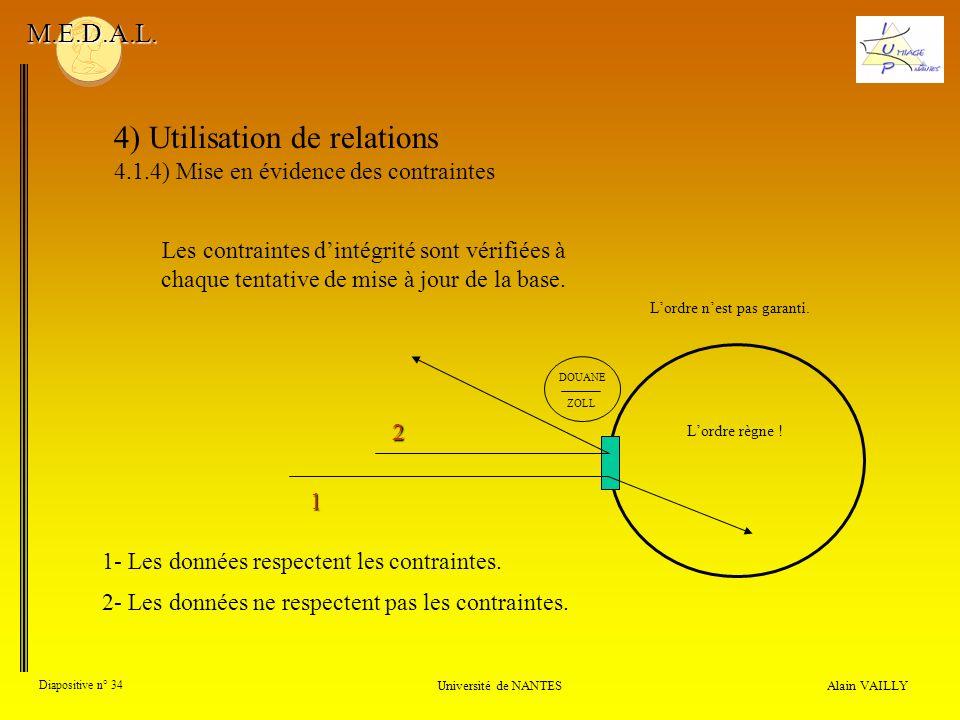 4) Utilisation de relations 4.1.4) Mise en évidence des contraintes Alain VAILLY Diapositive n° 34 Université de NANTES M.E.D.A.L. Les contraintes din