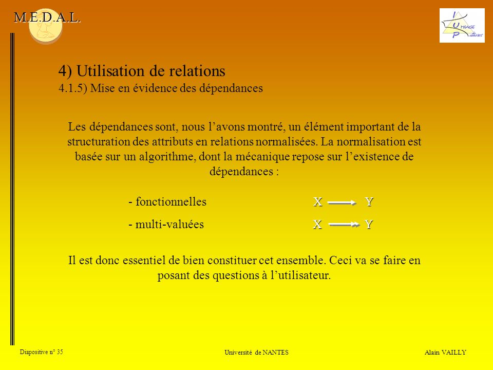 4) Utilisation de relations 4.1.5) Mise en évidence des dépendances Alain VAILLY Diapositive n° 35 Université de NANTES M.E.D.A.L. Les dépendances son