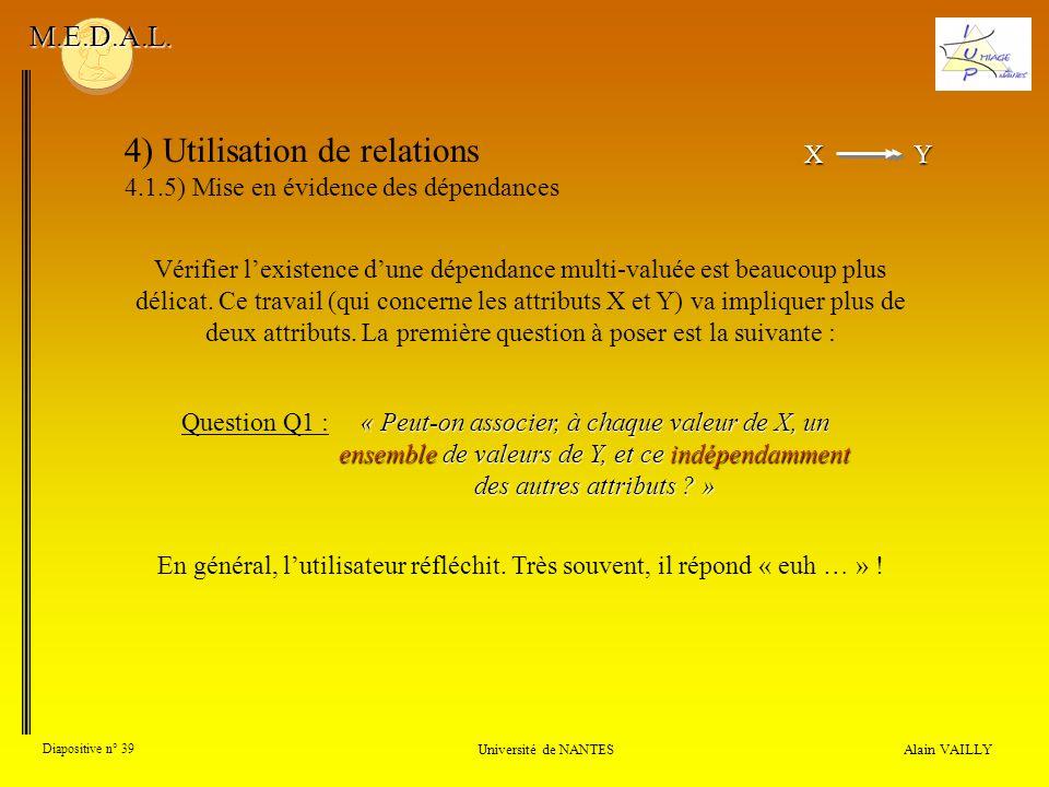 XY X Y 4) Utilisation de relations 4.1.5) Mise en évidence des dépendances Alain VAILLY Diapositive n° 39 Université de NANTES M.E.D.A.L. Vérifier lex