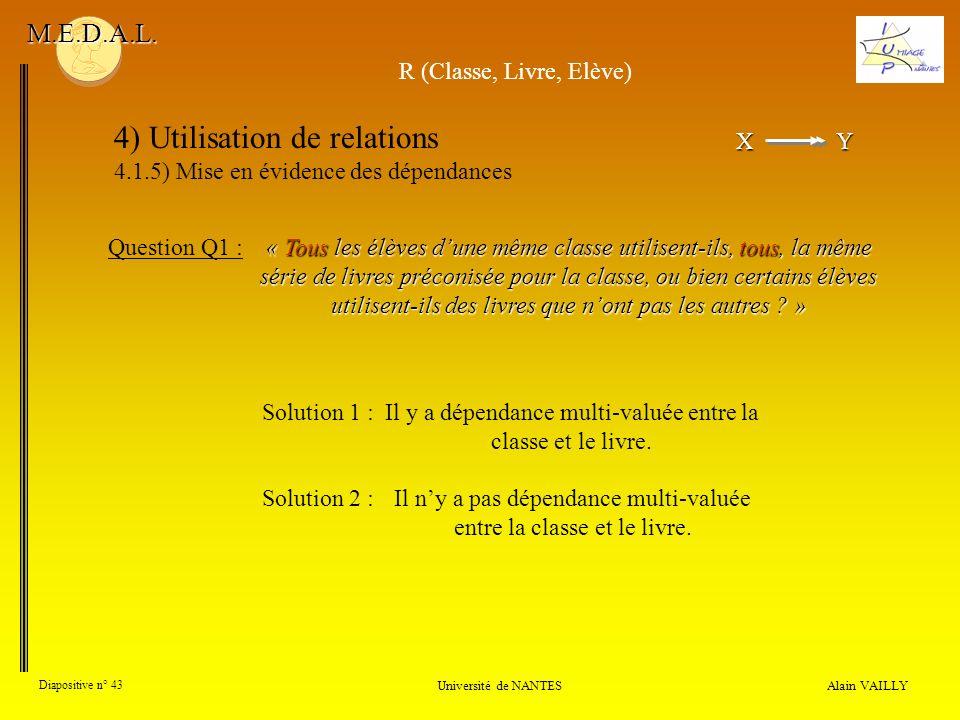 XY X Y 4) Utilisation de relations 4.1.5) Mise en évidence des dépendances Alain VAILLY Diapositive n° 43 Université de NANTES M.E.D.A.L. « Tous les é