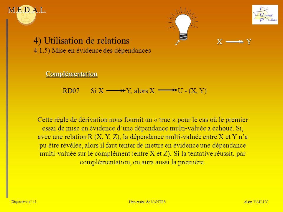XY X Y 4) Utilisation de relations 4.1.5) Mise en évidence des dépendances Alain VAILLY Diapositive n° 44 Université de NANTES M.E.D.A.L. Cette règle