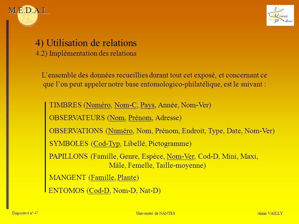 4) Utilisation de relations 4.2) Implémentation des relations Alain VAILLY Diapositive n° 47 Université de NANTES M.E.D.A.L. Lensemble des données rec