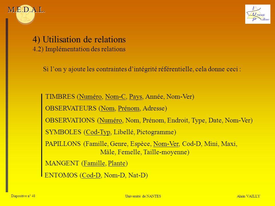 4) Utilisation de relations 4.2) Implémentation des relations Alain VAILLY Diapositive n° 48 Université de NANTES M.E.D.A.L. OBSERVATIONS (Numéro, Nom