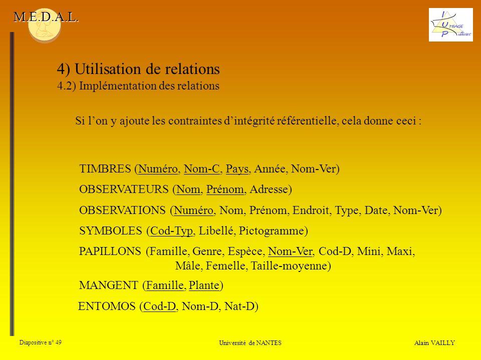 4) Utilisation de relations 4.2) Implémentation des relations Alain VAILLY Diapositive n° 49 Université de NANTES M.E.D.A.L. OBSERVATIONS (Numéro, Nom