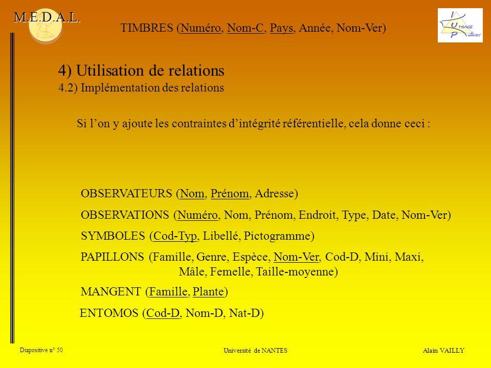 4) Utilisation de relations 4.2) Implémentation des relations Alain VAILLY Diapositive n° 50 Université de NANTES M.E.D.A.L. OBSERVATIONS (Numéro, Nom