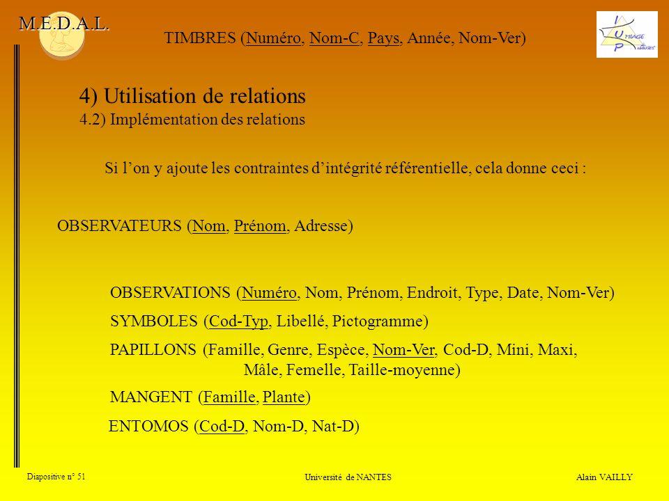 4) Utilisation de relations 4.2) Implémentation des relations Alain VAILLY Diapositive n° 51 Université de NANTES M.E.D.A.L. OBSERVATIONS (Numéro, Nom