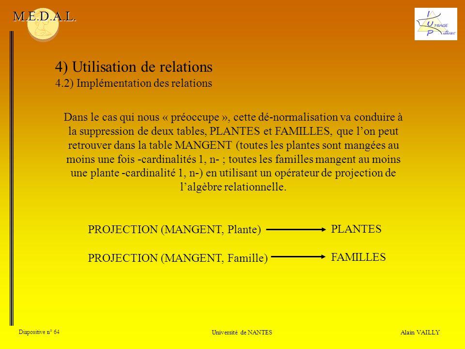 4) Utilisation de relations 4.2) Implémentation des relations Alain VAILLY Diapositive n° 64 Université de NANTES M.E.D.A.L. Dans le cas qui nous « pr