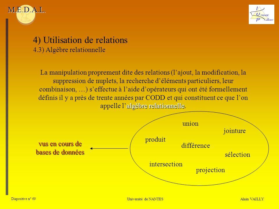 4) Utilisation de relations 4.3) Algèbre relationnelle Alain VAILLY Diapositive n° 69 Université de NANTES M.E.D.A.L. algèbrerelationnelle La manipula