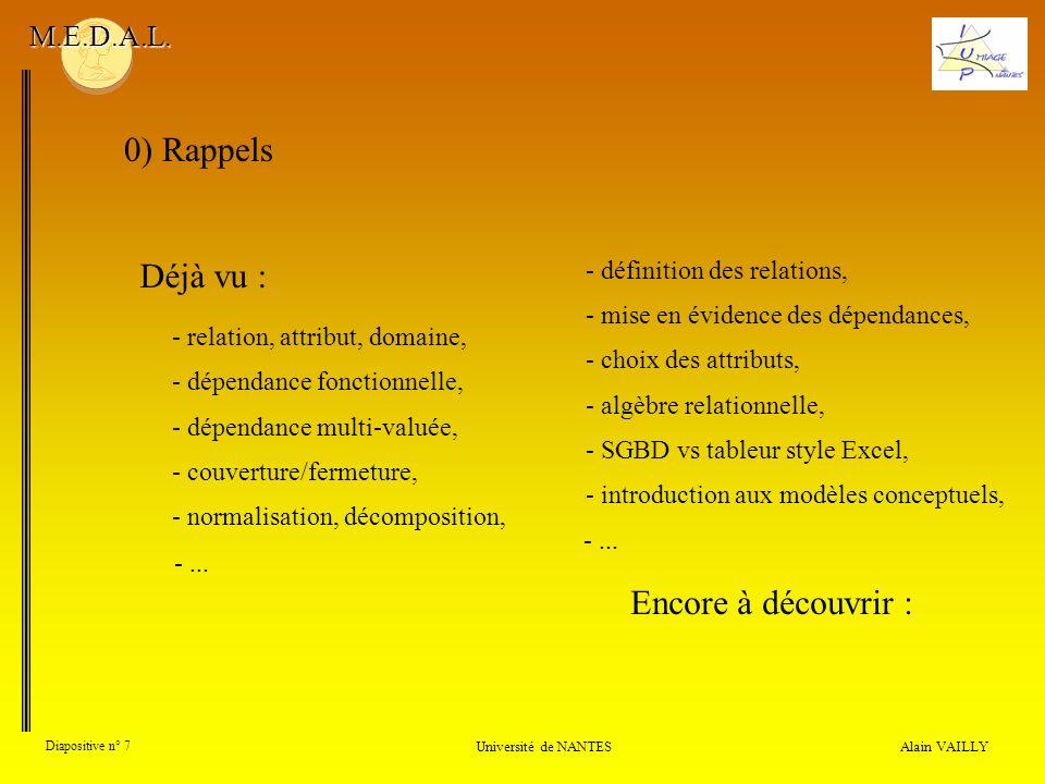 Alain VAILLY Diapositive n° 7 0) Rappels Université de NANTES M.E.D.A.L. Déjà vu : - dépendance multi-valuée, - couverture/fermeture, - normalisation,