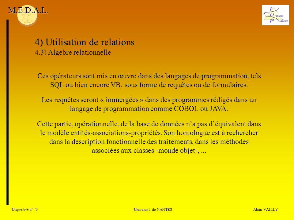 4) Utilisation de relations 4.3) Algèbre relationnelle Alain VAILLY Diapositive n° 70 Université de NANTES M.E.D.A.L. Ces opérateurs sont mis en œuvre