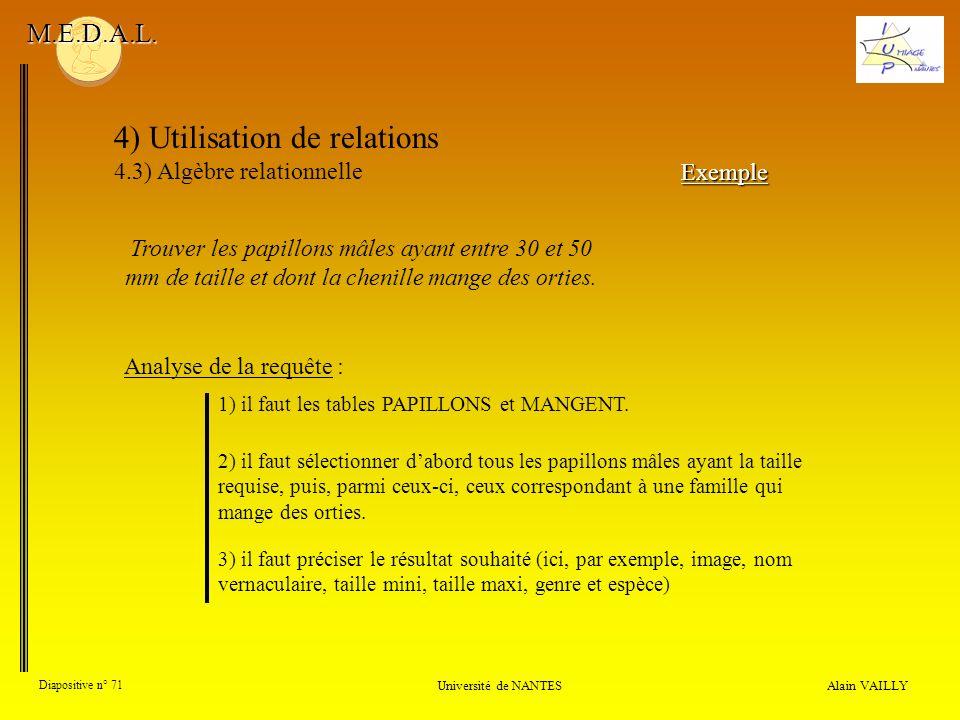 4) Utilisation de relations 4.3) Algèbre relationnelle Alain VAILLY Diapositive n° 71 Université de NANTES M.E.D.A.L. Trouver les papillons mâles ayan