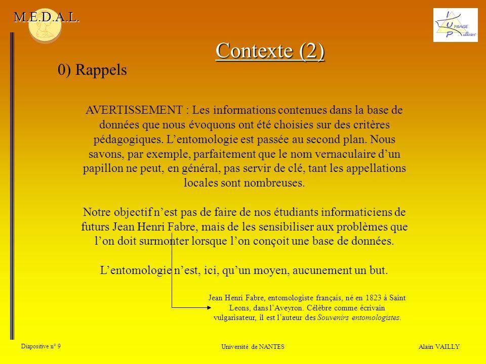 Alain VAILLY Diapositive n° 9 0) Rappels Université de NANTES M.E.D.A.L. Contexte (2) AVERTISSEMENT : Les informations contenues dans la base de donné
