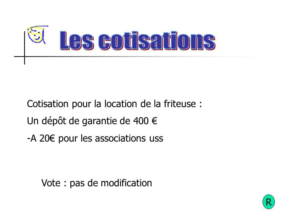 R Cotisation pour la location de la friteuse : Un dépôt de garantie de 400 -A 20 pour les associations uss Vote : pas de modification