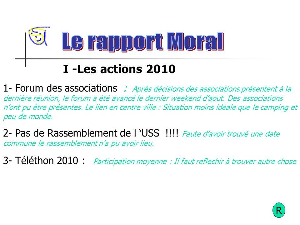 R I -Les actions 2010 1- Forum des associations: Après décisions des associations présentent à la dernière réunion, le forum a été avancé le dernier weekend daout.