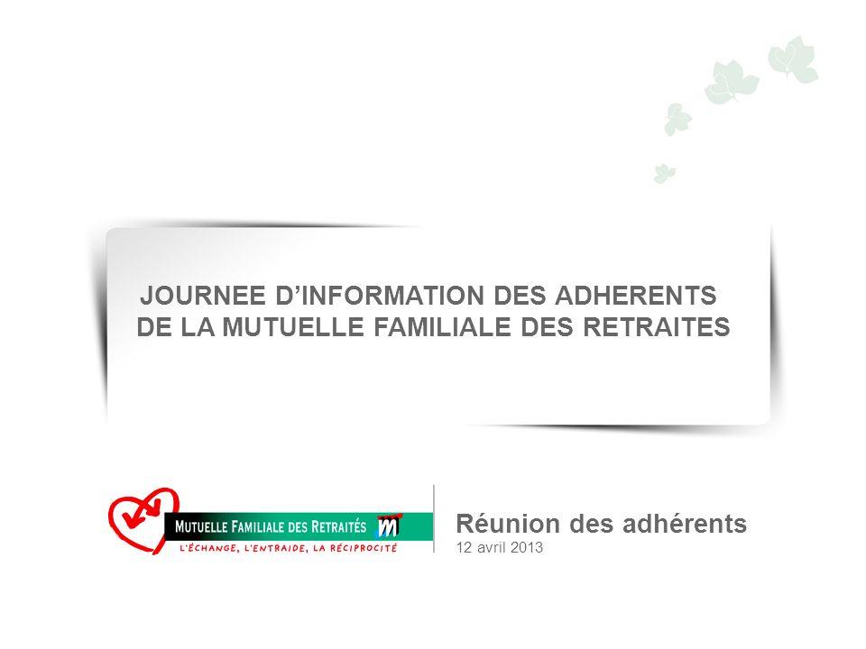 Réunion des adhérents 12 avril 2013 JOURNEE DINFORMATION DES ADHERENTS DE LA MUTUELLE FAMILIALE DES RETRAITES