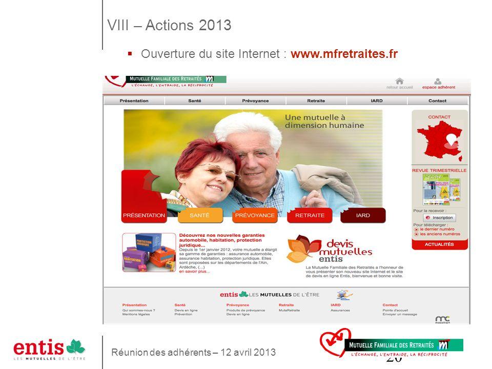20 Ouverture du site Internet : www.mfretraites.fr VIII – Actions 2013 Réunion des adhérents – 12 avril 2013