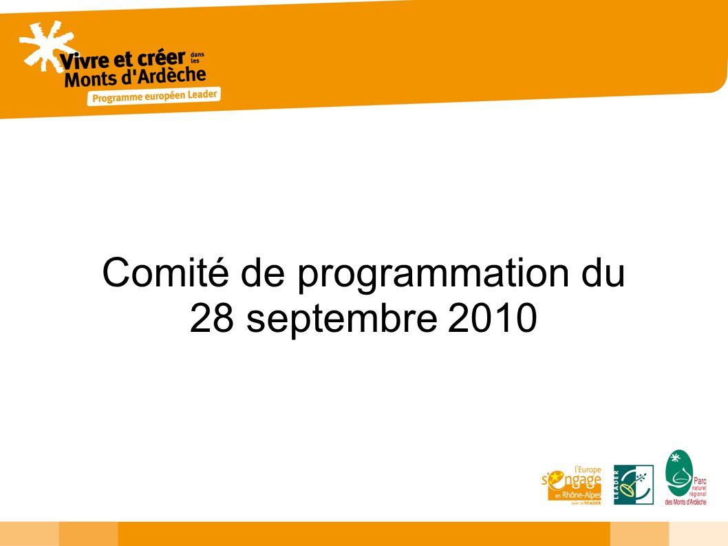 Comité de programmation du 28 septembre 2010