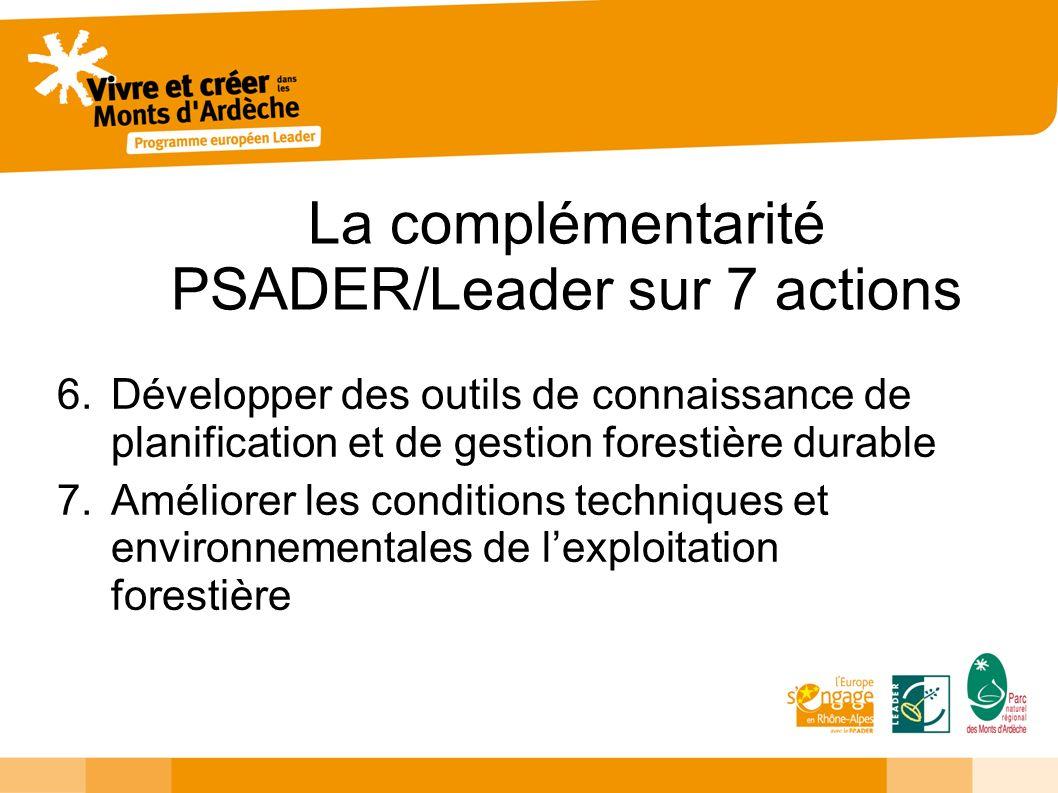 La complémentarité PSADER/Leader sur 7 actions 6.Développer des outils de connaissance de planification et de gestion forestière durable 7.Améliorer les conditions techniques et environnementales de lexploitation forestière