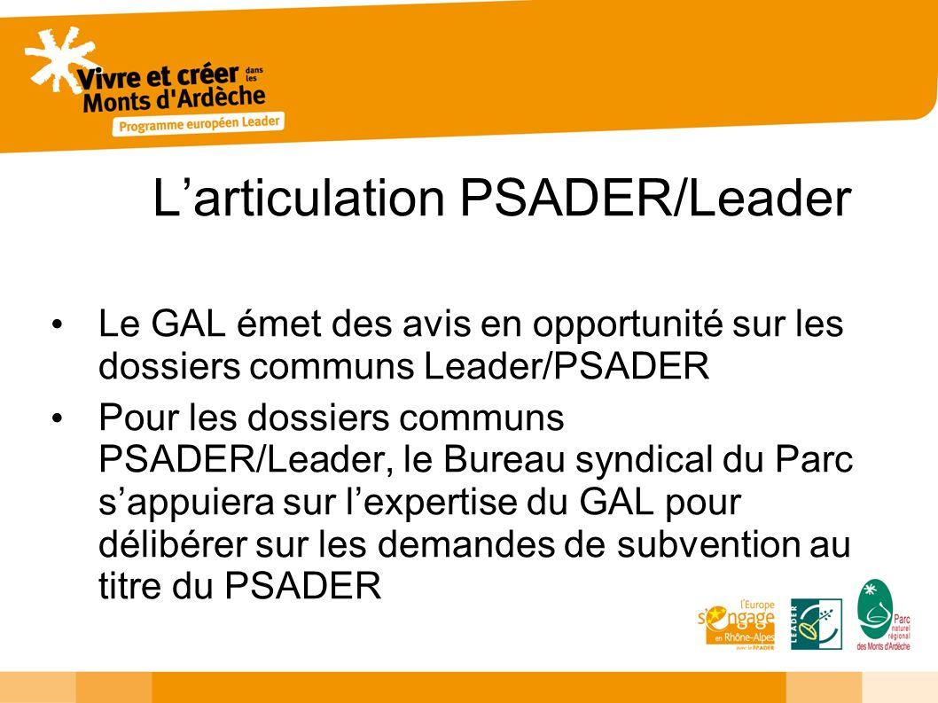 Larticulation PSADER/Leader Le GAL émet des avis en opportunité sur les dossiers communs Leader/PSADER Pour les dossiers communs PSADER/Leader, le Bur