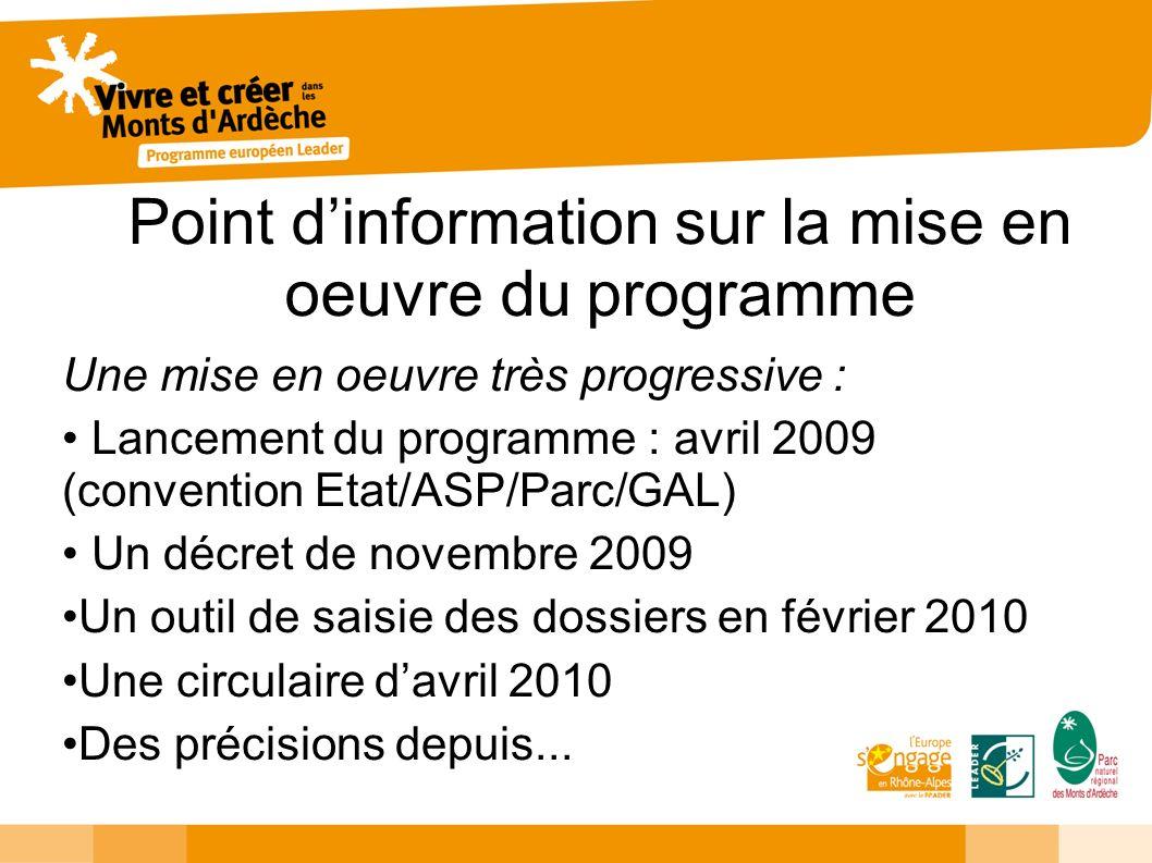 Point dinformation sur la mise en oeuvre du programme Une mise en oeuvre très progressive : Lancement du programme : avril 2009 (convention Etat/ASP/P