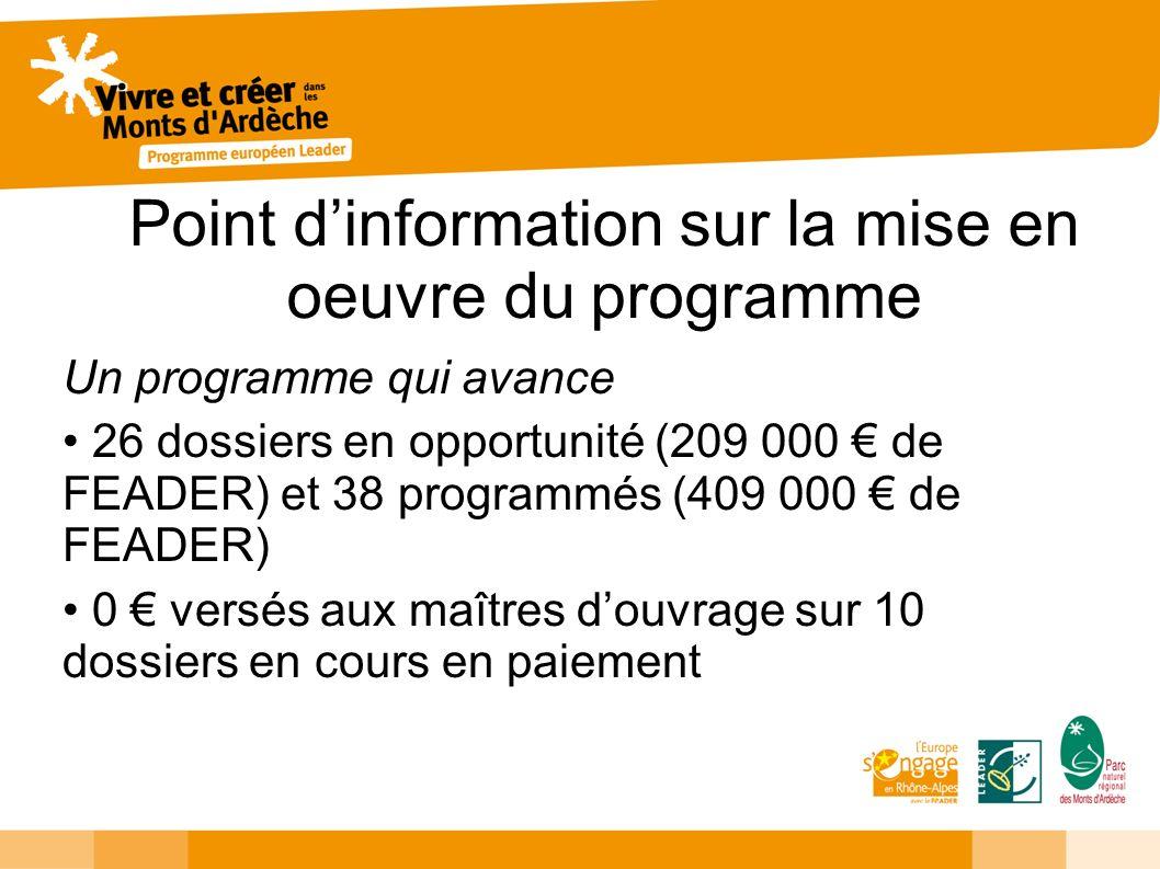 Point dinformation sur la mise en oeuvre du programme Un programme qui avance 26 dossiers en opportunité (209 000 de FEADER) et 38 programmés (409 000