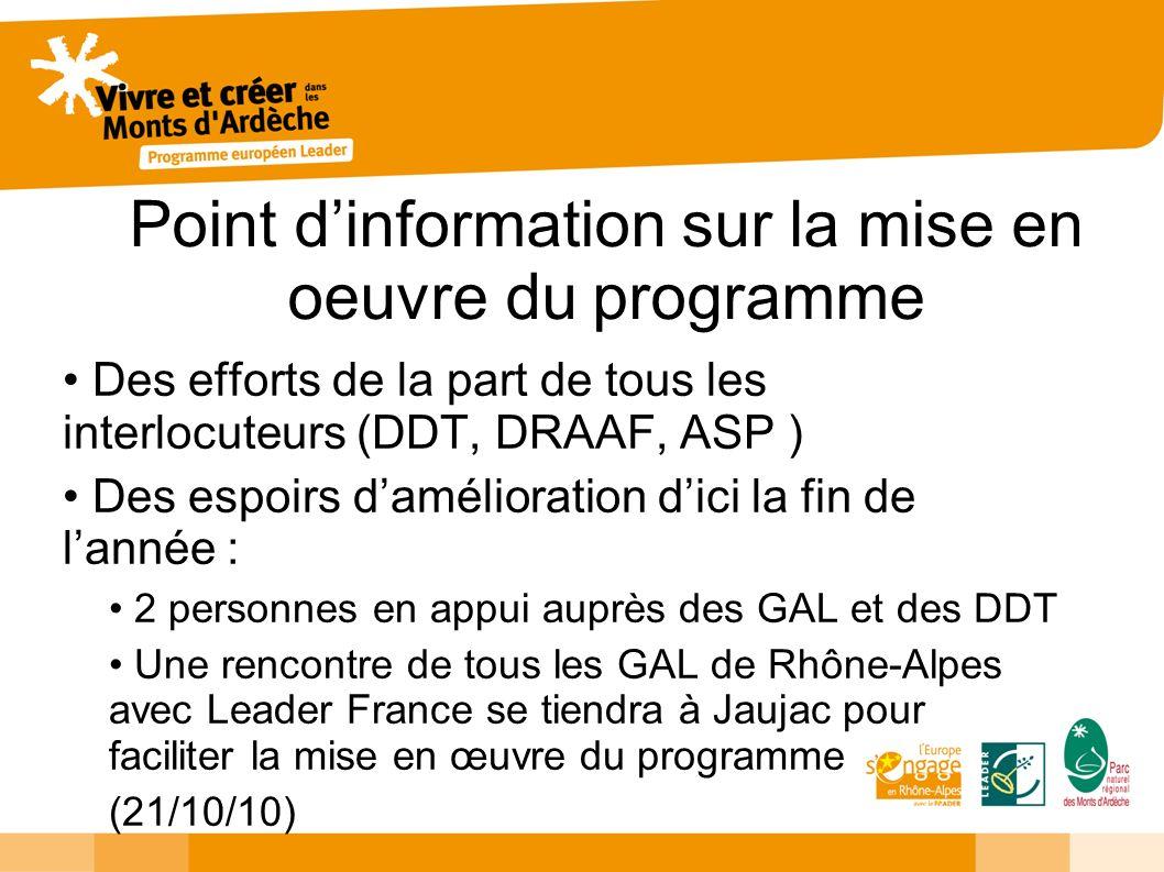 Point dinformation sur la mise en oeuvre du programme Des efforts de la part de tous les interlocuteurs (DDT, DRAAF, ASP ) Des espoirs damélioration d