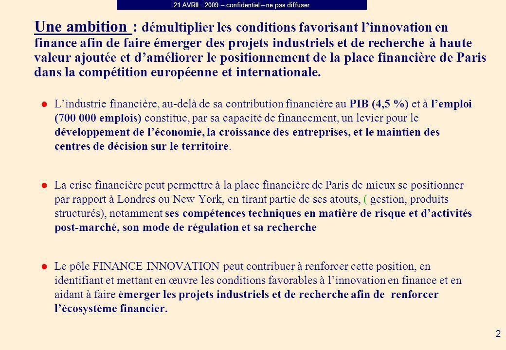 21 AVRIL 2009 – confidentiel – ne pas diffuser 2 Une ambition : démultiplier les conditions favorisant linnovation en finance afin de faire émerger des projets industriels et de recherche à haute valeur ajoutée et daméliorer le positionnement de la place financière de Paris dans la compétition européenne et internationale.