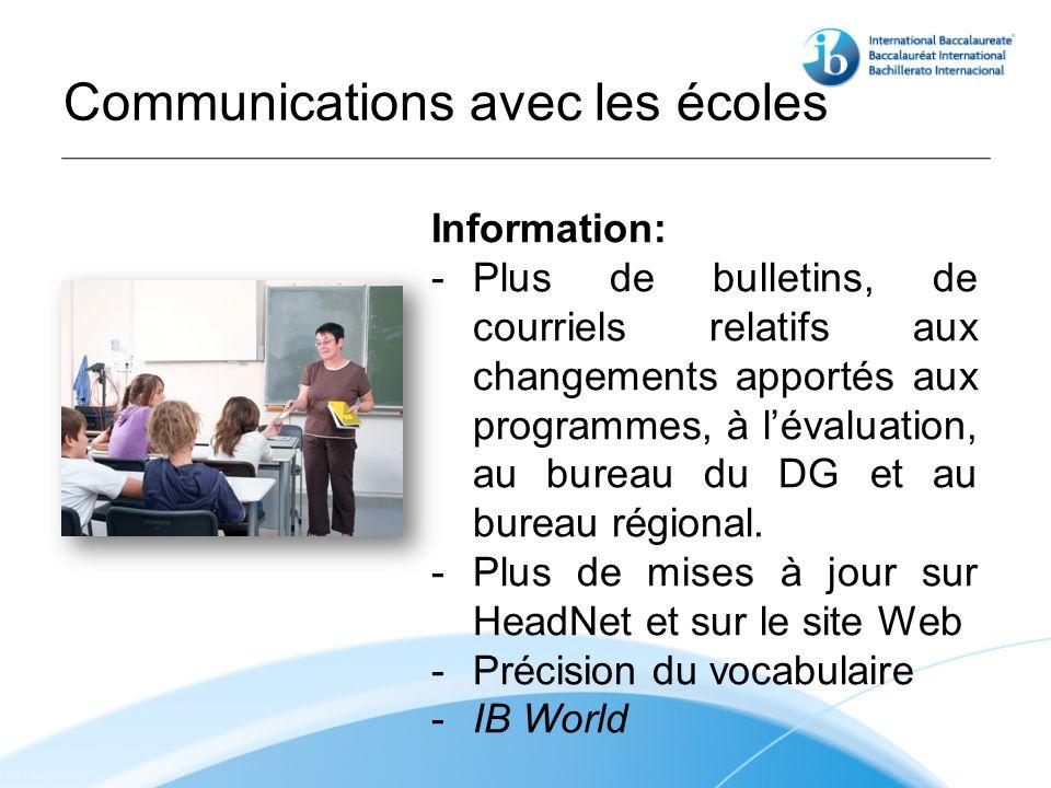 Communications avec les écoles Information: - Plus de bulletins, de courriels relatifs aux changements apportés aux programmes, à lévaluation, au bureau du DG et au bureau régional.