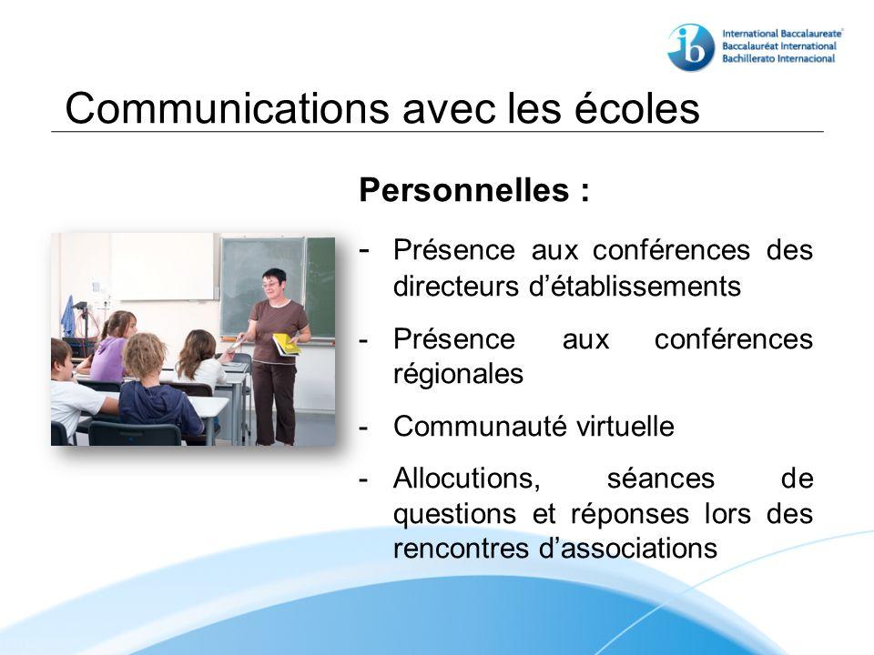 Communications avec les écoles Personnelles : - Présence aux conférences des directeurs détablissements - Présence aux conférences régionales - Communauté virtuelle - Allocutions, séances de questions et réponses lors des rencontres dassociations
