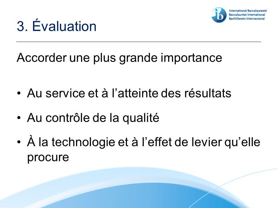 3. Évaluation Accorder une plus grande importance Au service et à latteinte des résultats Au contrôle de la qualité À la technologie et à leffet de le