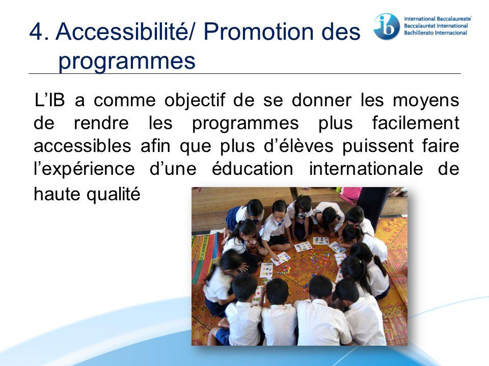4. Accessibilité/ Promotion des programmes LIB a comme objectif de se donner les moyens de rendre les programmes plus facilement accessibles afin que