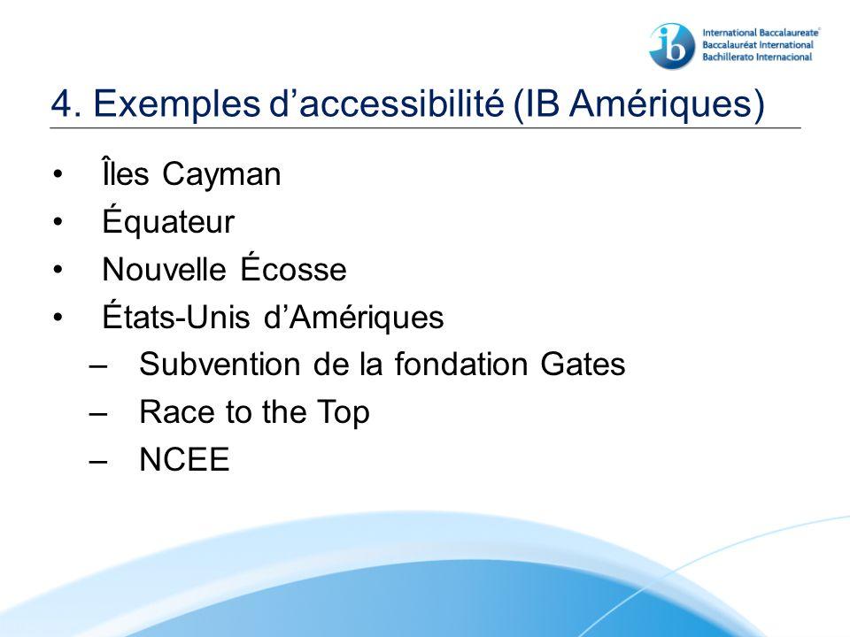 4. Exemples daccessibilité (IB Amériques) Îles Cayman Équateur Nouvelle Écosse États-Unis dAmériques –Subvention de la fondation Gates –Race to the To