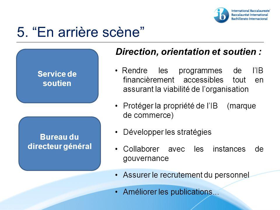 5. En arrière scène Direction, orientation et soutien : Rendre les programmes de lIB financièrement accessibles tout en assurant la viabilité de lorga