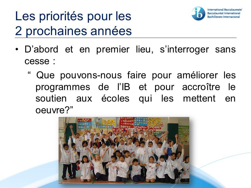Les priorités pour les 2 prochaines années Dabord et en premier lieu, sinterroger sans cesse : Que pouvons-nous faire pour améliorer les programmes de lIB et pour accroître le soutien aux écoles qui les mettent en oeuvre