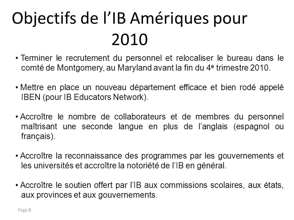 Objectifs de lIB Amériques pour 2010 Page 8 Terminer le recrutement du personnel et relocaliser le bureau dans le comté de Montgomery, au Maryland avant la fin du 4 e trimestre 2010.
